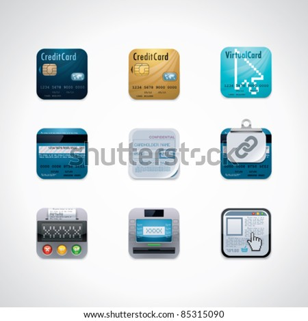 Credit card square icon set - stock vector