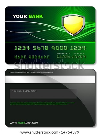 Credit card template - stock vector