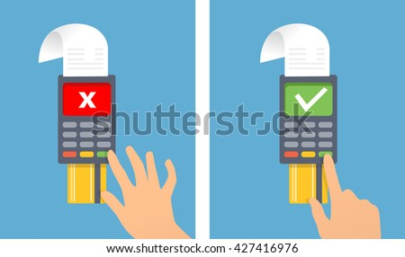 Credit card terminal.Man is confirming payment on card terminal. OK and no transaction. Vector created illustration of paying, sending money, confirming payment.  - stock vector