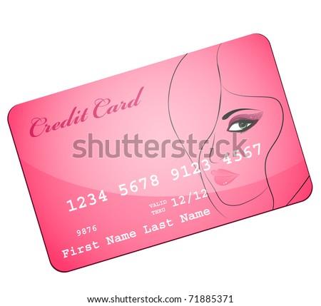 credit card wiht silhouette of pretty attractive girl - stock vector