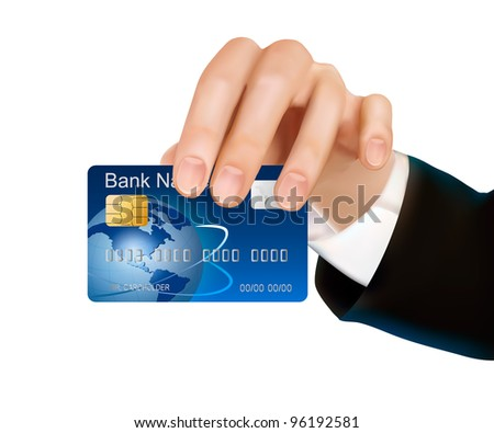 Credit card with chip in woman's hand. Vector illustration. - stock vector