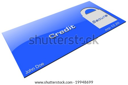 Credit card with secure padlock area