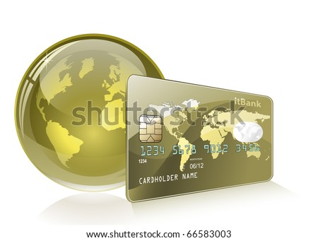 Credit card with world map and Globe. Payment concept. Internet Banking. - stock vector