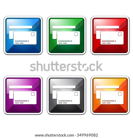 Credit Cards Colorful Vector Icon Button