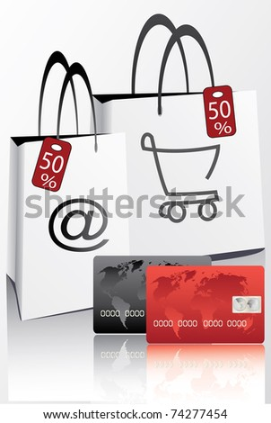 credit cards for discount  shopping - stock vector