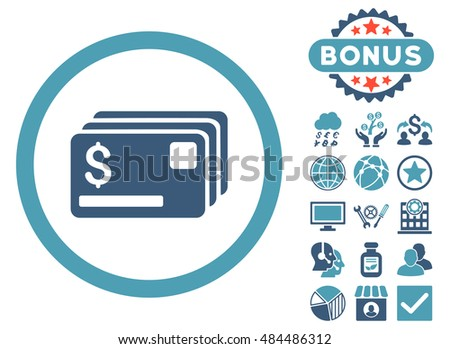 Credit Cards icon with bonus design elements. Vector illustration style is flat iconic bicolor symbols, cyan and blue colors, white background.