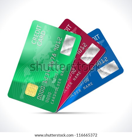 Credit Cards isolated on white. Vector Illustration - stock vector