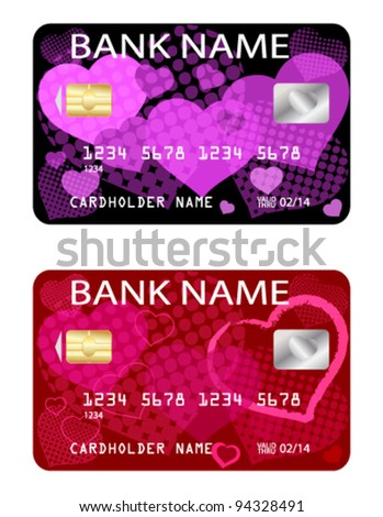 credit cards, Valentine's day theme - stock vector