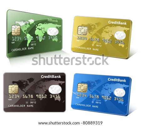 Credit cards with world map. Colorful collection of credit cards. Highly detailed vector illustrations.