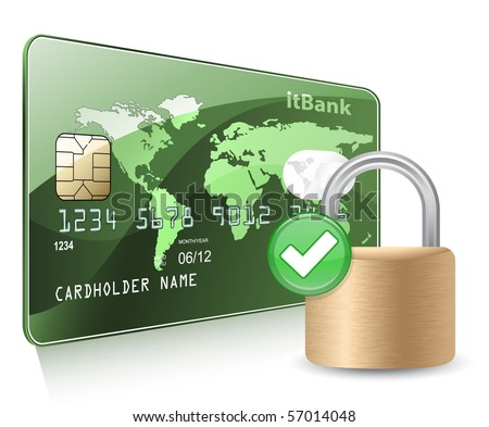 Credit or debit card and padlock. Payment  Security Concept. - stock vector