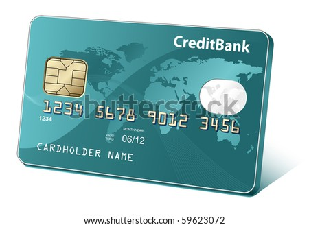 Credit or debit cards with world map and reflections. Payment concept. - stock vector