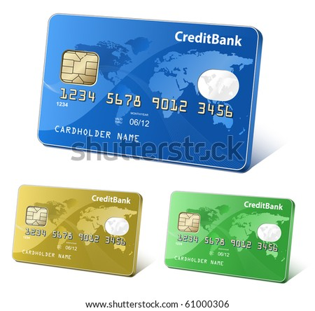 Credit or debit cards with world map and reflections. Payment concept. Colorful collection of credit cards. Highly detailed vector. - stock vector