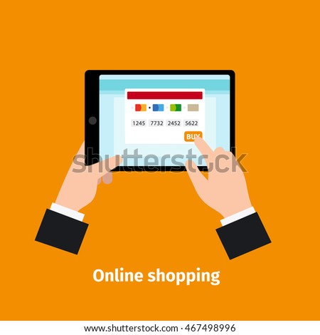 Credit plastic card usage. Online shopping vector illustration