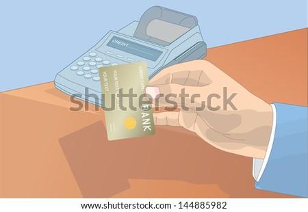 Credit Pos Machine - stock vector