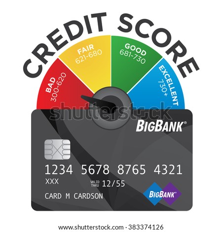 Credit Score Chart or Pie Graph with Realistic Credit Card - stock vector