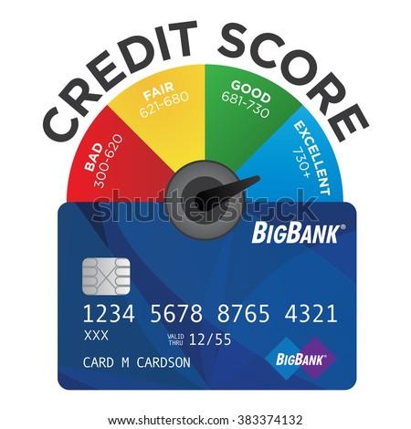 Credit score chart pie graph realistic 383374132