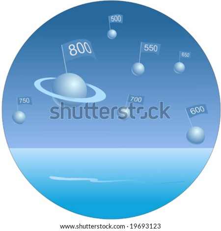 Credit score flags on planets in blue sky - stock vector