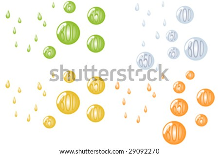 Credit score globes with water drops - stock vector