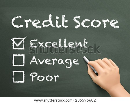 credit score survey written by hand on blackboard - stock vector