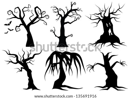 Creepy Cartoon trees. EPS 8 vector, grouped for easy editing. No open shapes or paths. - stock vector