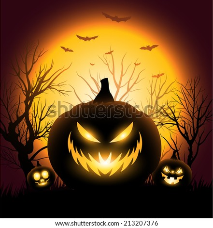 Creepy Halloween angry pumkin face copyspace background - stock vector