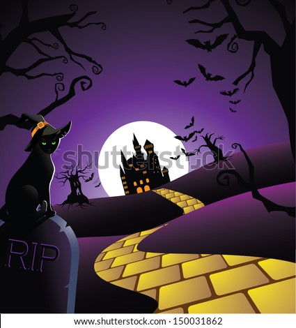 Creepy Halloween Background. EPS 10 vector, grouped for easy editing. o open shapes or paths. - stock vector