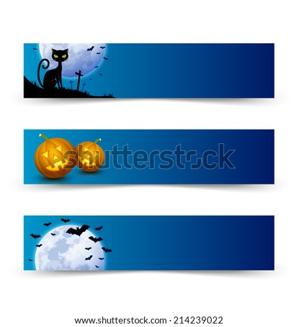 Creepy Halloween banners with full moon, black cat, bats and carved Jack-o'-lantern pumpkins - stock vector