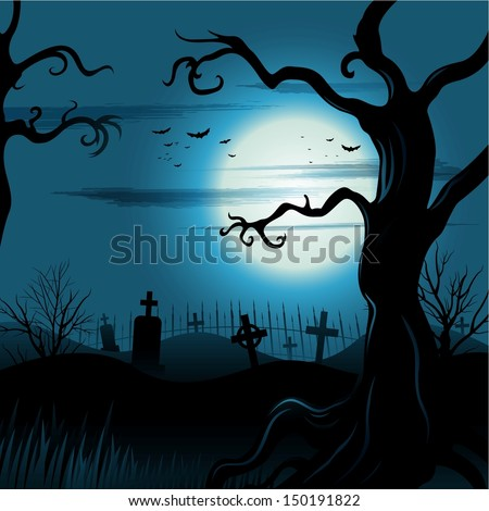 Creepy tree Halloween background with full moon - stock vector