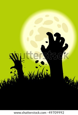 creepy zombie hand background - stock vector