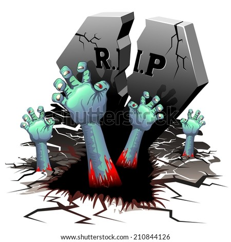 Creepy Zombie Hands on Cemetery - stock vector