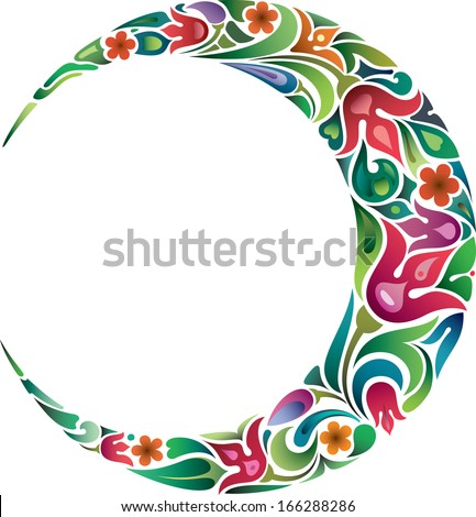 Crescent and tulips - stock vector