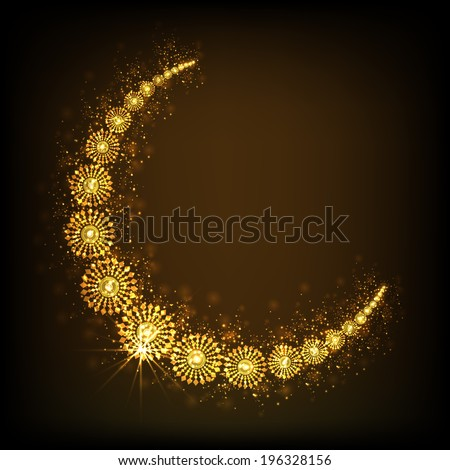 Crescent golden moon on shiny brown background for holy month of muslim community Ramadan Kareem.  - stock vector