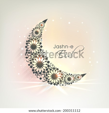Crescent moon decorated with beautiful flowers on colourful background for Muslim community festival Jashn-E-Eid.  - stock vector