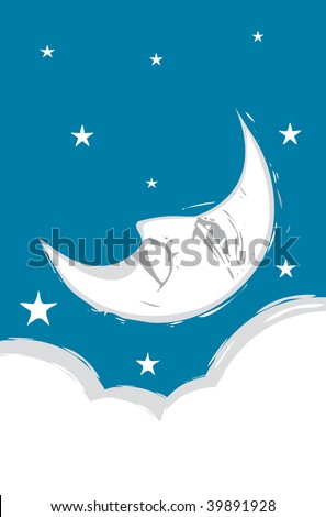 Crescent Moon Face with clouds and stars.
