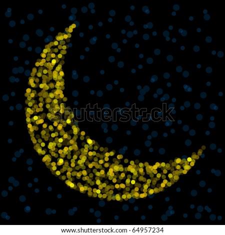 Crescent moon formed from golden unfocused lights - stock vector