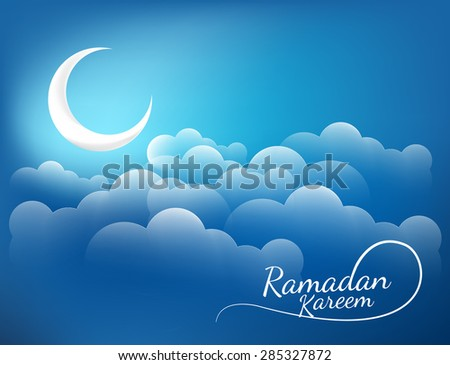Crescent moon with Ramadan greeting text in the sky concept for Muslim community festival. - stock vector