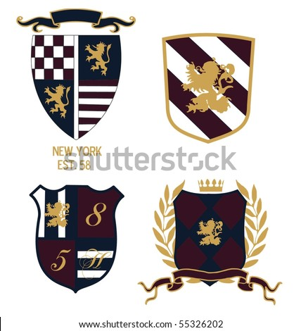 crest badge - stock vector
