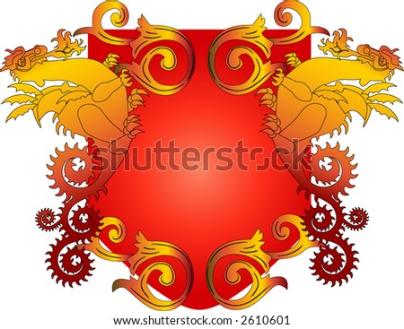 crest with dragons and scroll vector - stock vector