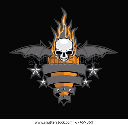 Crest with Skull, Wings and Fire - stock vector