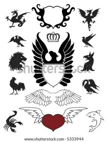 Crests Ornaments and Emblems - stock vector