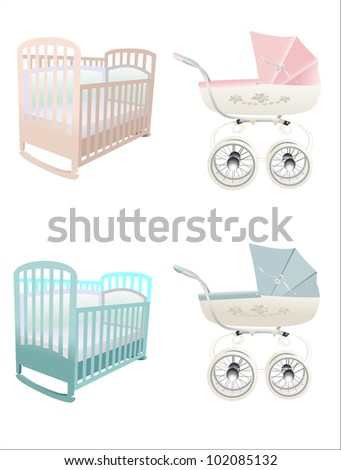 crib and stroller - stock vector