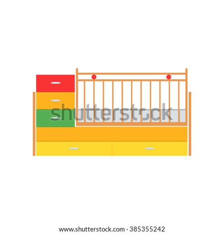Crib vector illustration. Little baby crib. Colors crib details. Cot isolated icon. Wooden crib on white background. Flat style vector illustration. - stock vector