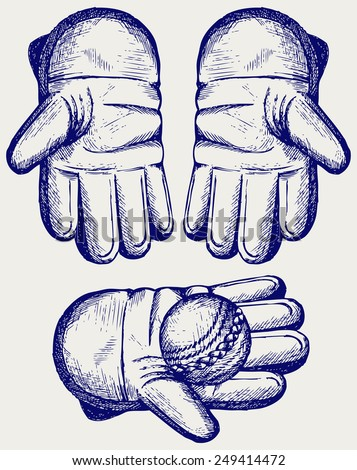 Cricket ball in a wicket keeping glove. Doodle style - stock vector