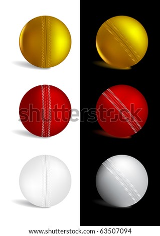 Cricket Ball in gold, red and white colors - vector illustration - stock vector