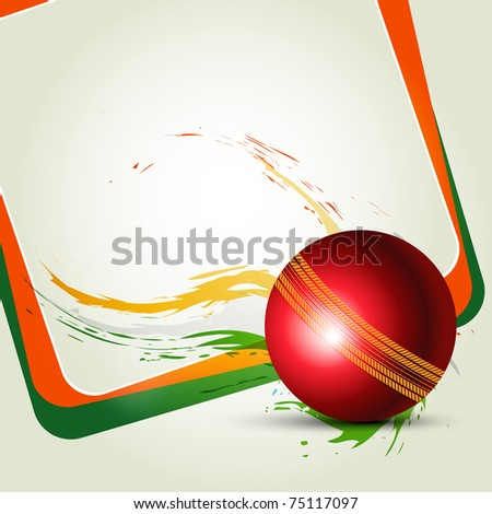 Cricket ball on abstract background - stock vector