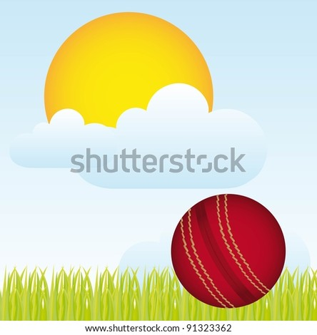 cricket ball over landscape with grass and sun. vector - stock vector
