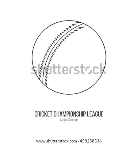 Cricket ball. Single logo in modern thin line style isolated on white background. Outline cricket game symbol. Simple mono linear pictogram. Stroke vector logotype template. - stock vector