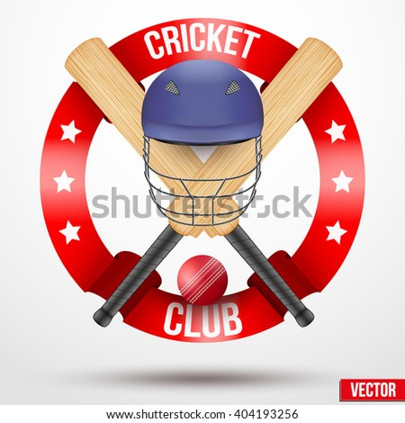 Cricket bats and helmet with ribbons. Sporting Symbol and mascot. Vector Illustration Isolated on background. - stock vector
