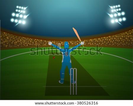 Cricket Batsman standing in winning pose on night stadium lights background. - stock vector