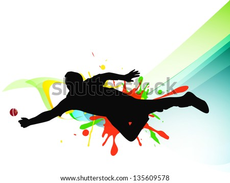 Cricket Bowler Playing Action On Grungy Stock Vector ...